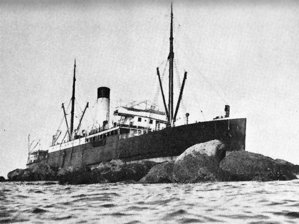 SS Manaia aground