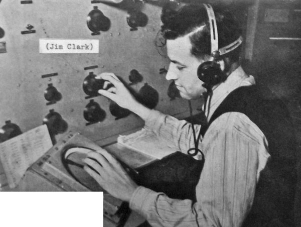 Jim Clark controlling a direction-finder, with goniometer at Musick Point radio station in 1949