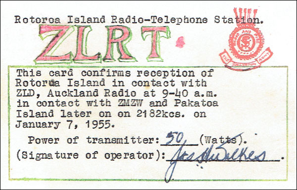 QSL card confirming ZLRT working Auckland Radio ZLD on 7 Jan 1955