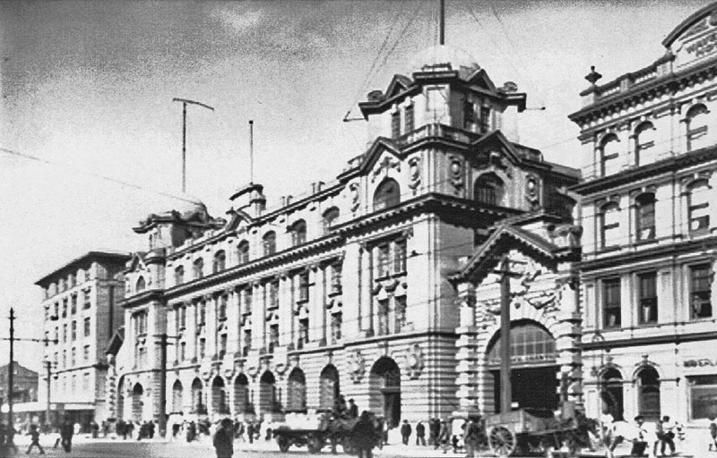 Auckland Chief Post Office with radio aerial in 1915