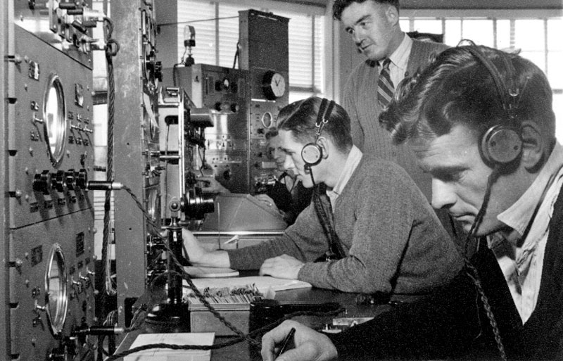 Operators at Auckland Radio ZLD. G Haywood, George Haines, Carl Littlejohn, J Thompson or Ted Healy