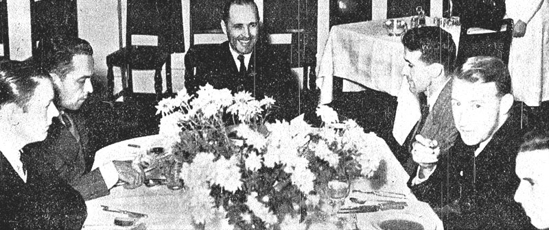 Capt Musick and crew dining in Auckland, March 1937