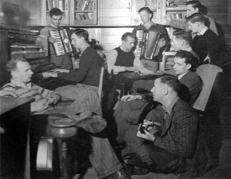 A few of the Musick Point staff enjoy a jam session, c1950