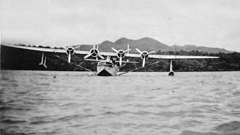 Samoan Clipper moored in Islington Bay, Dec 1937