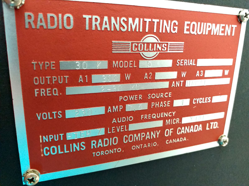 Collins 30K5 ID plate